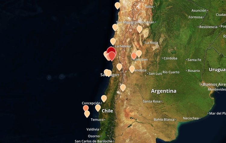 Chile quake map shows the location and intensity of seismic events chile quake map shows the location and intensity of seismic events this map shows the location time and magnitude of the main earthquake as well as other gumiabroncs Images