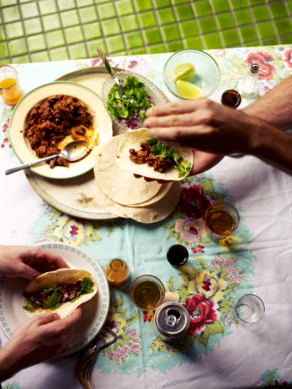 braised goat with tortillas  birria  recipe   sbs food