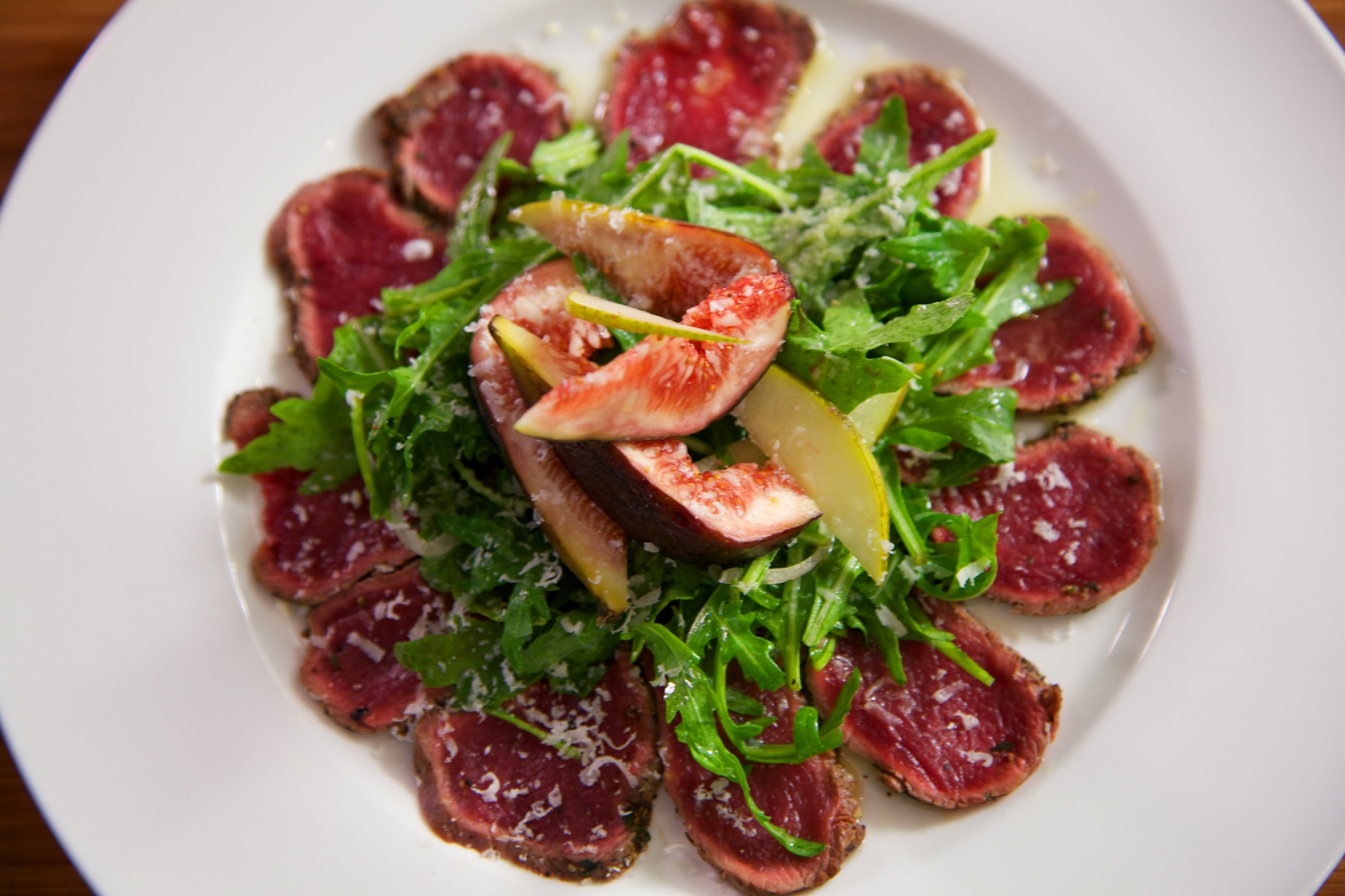 Carpaccio Of Fallow Deer With Rocket Pear Fig And