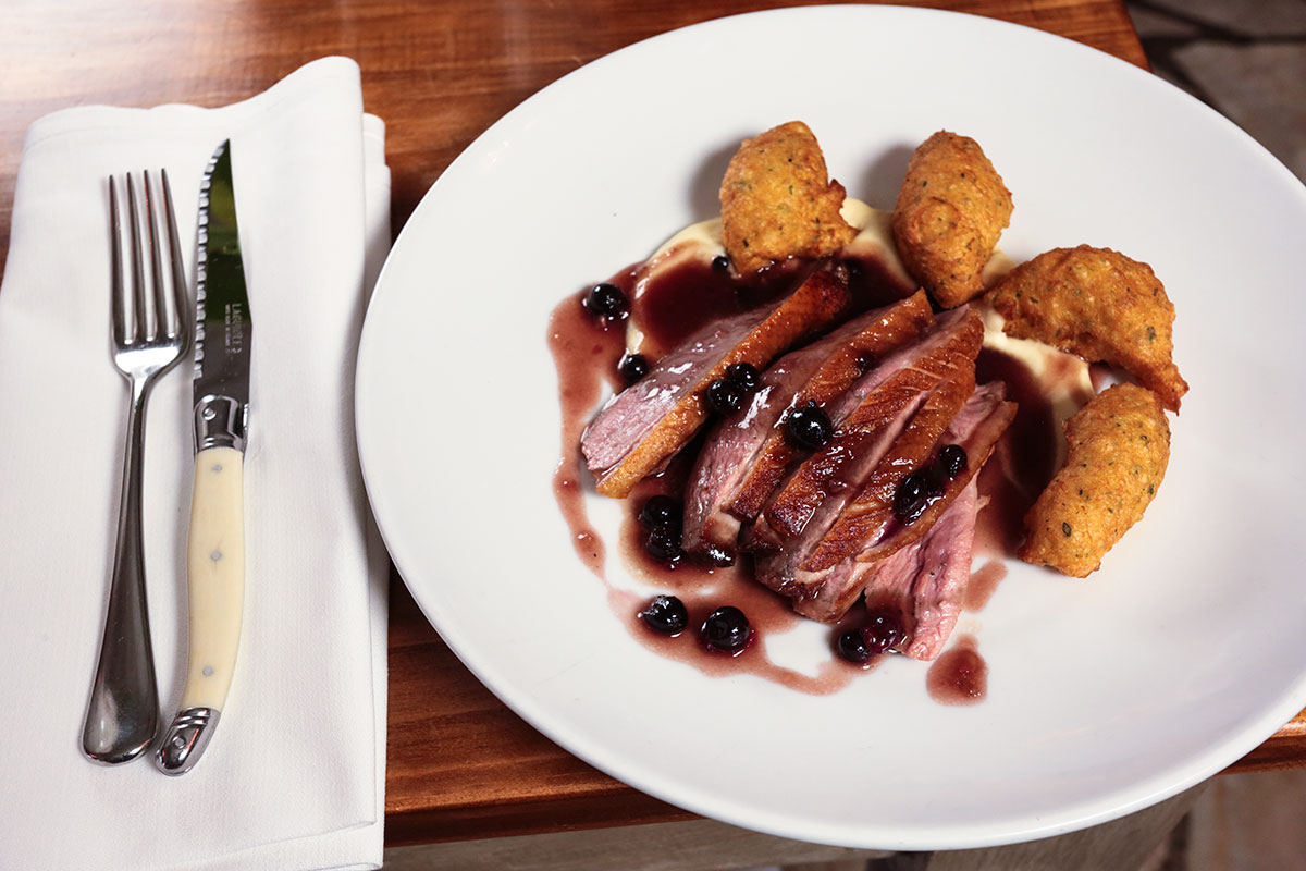 duck breast with sweet and sour blackcurrant sauce