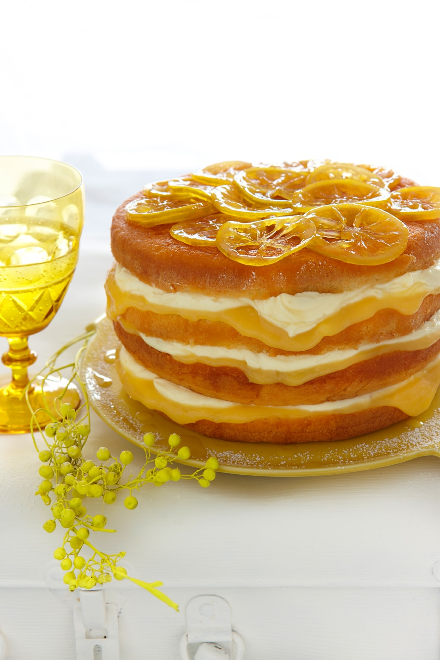 Lemon curd, mascarpone and almond layer cake recipe : SBS Food