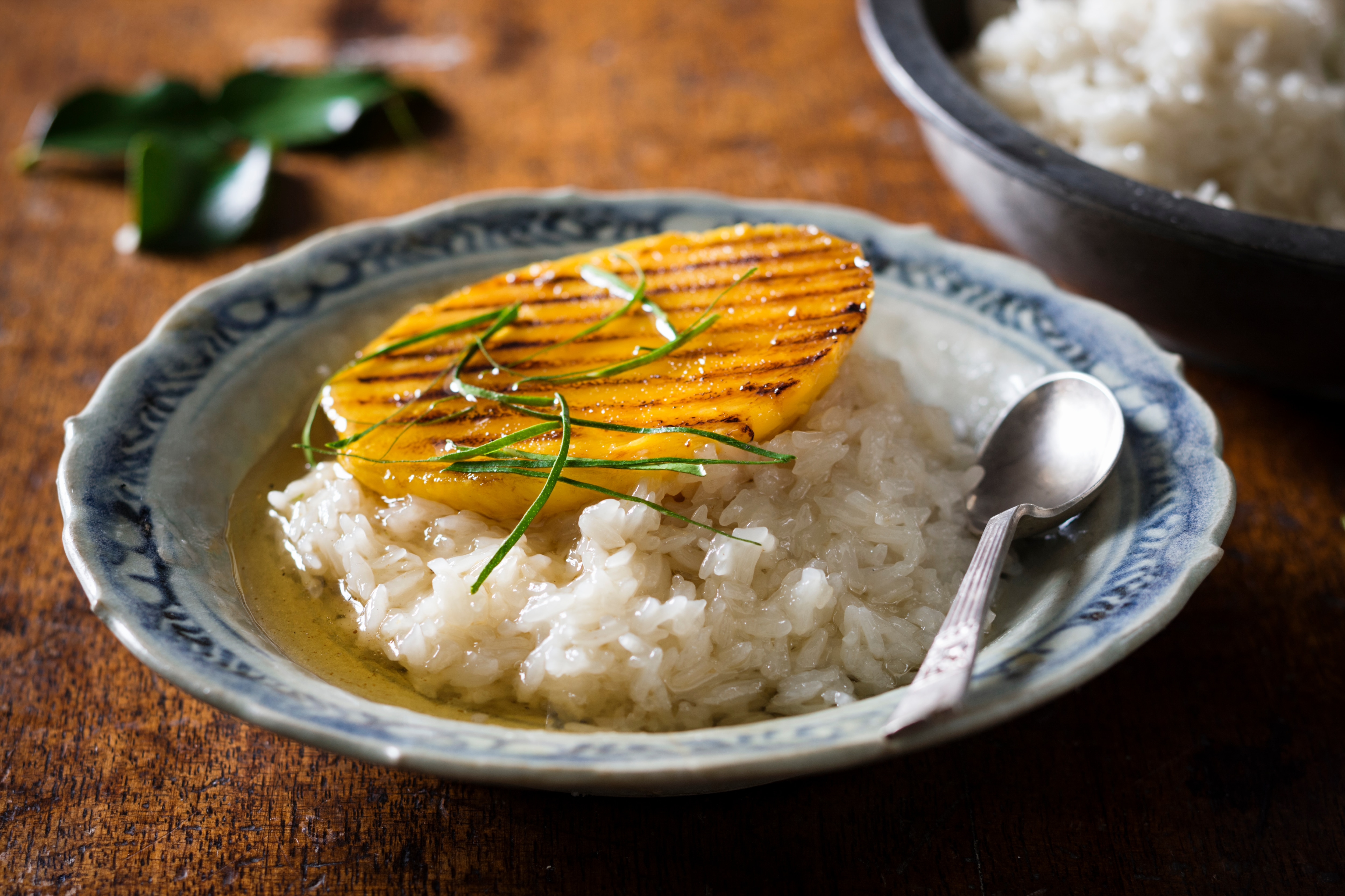 Coconut sticky rice with grilled mango and kaffir lime syrup coconut sticky rice with grilled mango and kaffir lime syrup httpsbsfoodrecipescoconut sticky rice grilled mango and kaffir lime syrup ccuart Gallery