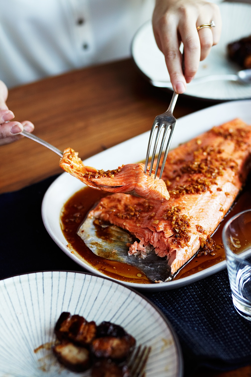Ocean trout with garlic and soy
