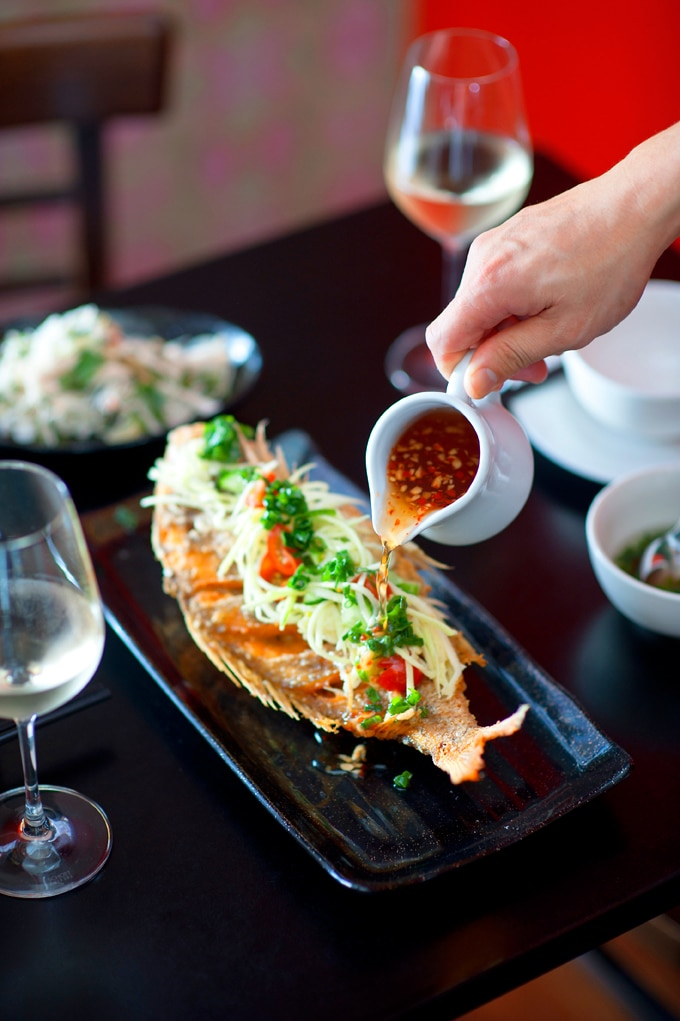 Deep fried whole snapper with ginger and lime fish sauce for Whole foods fish sauce