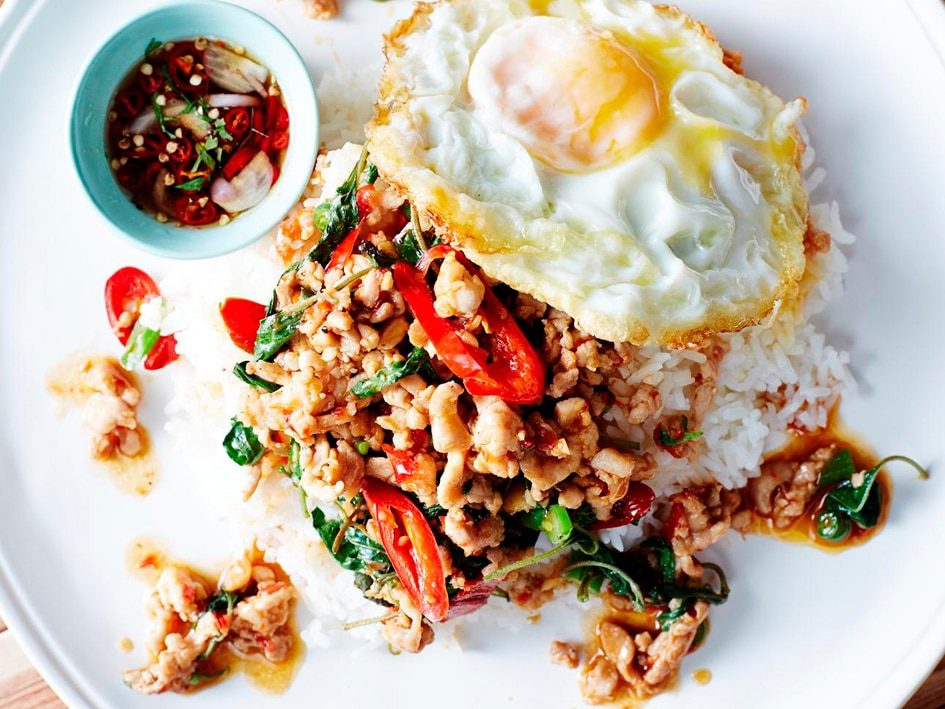 Stir-fried minced chicken with holy basil (pad grapao gai) recipe ...