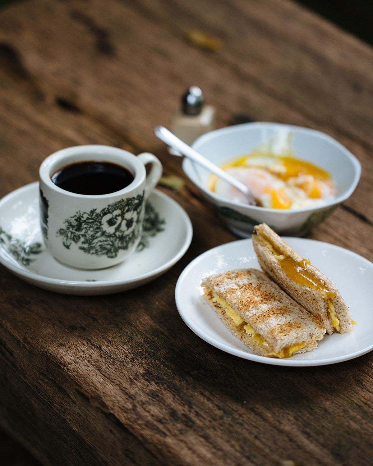 Kaya Toast With Half Cooked Eggs And Hainanese Coffee