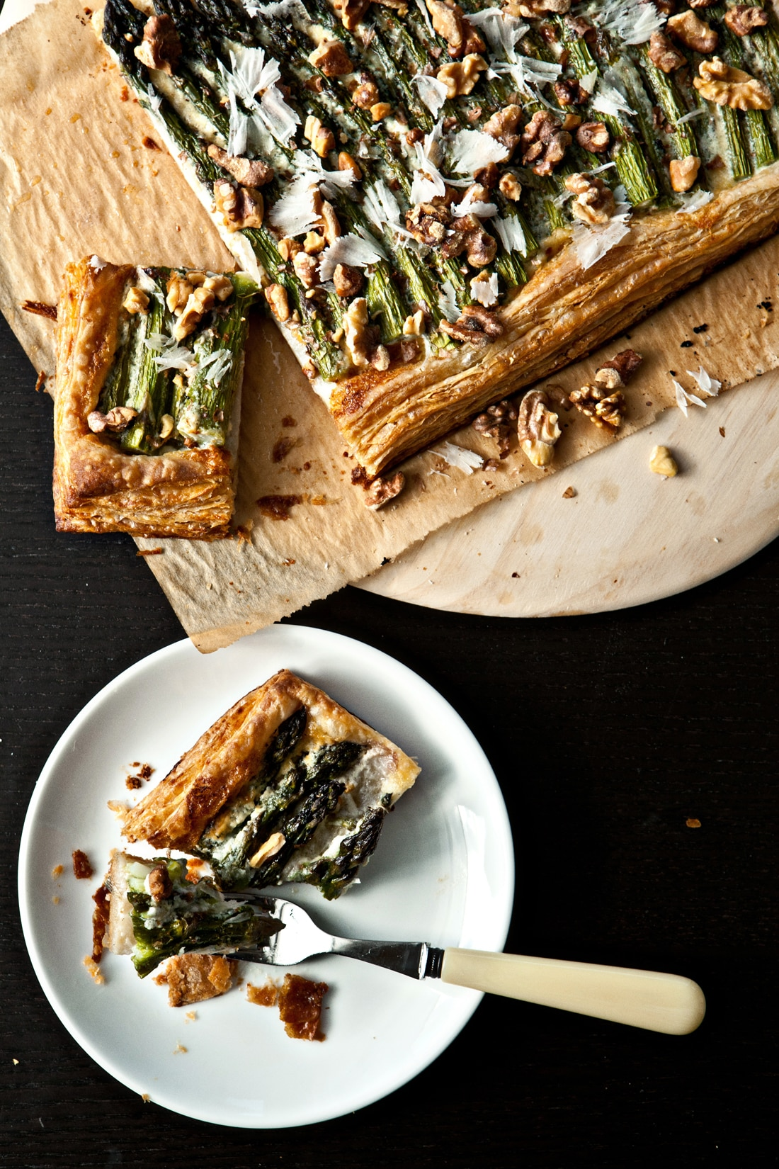 asparagus tart with walnuts and parmesan vegetarian recipes sbs food