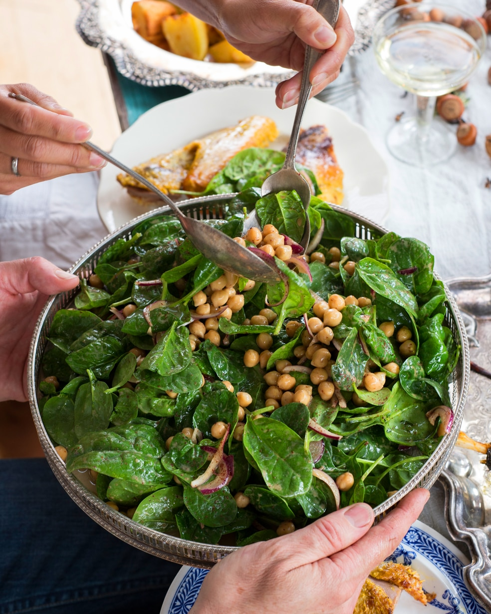 Chickpea And Spinach Salad With Cumin Dressing Recipes — Dishmaps
