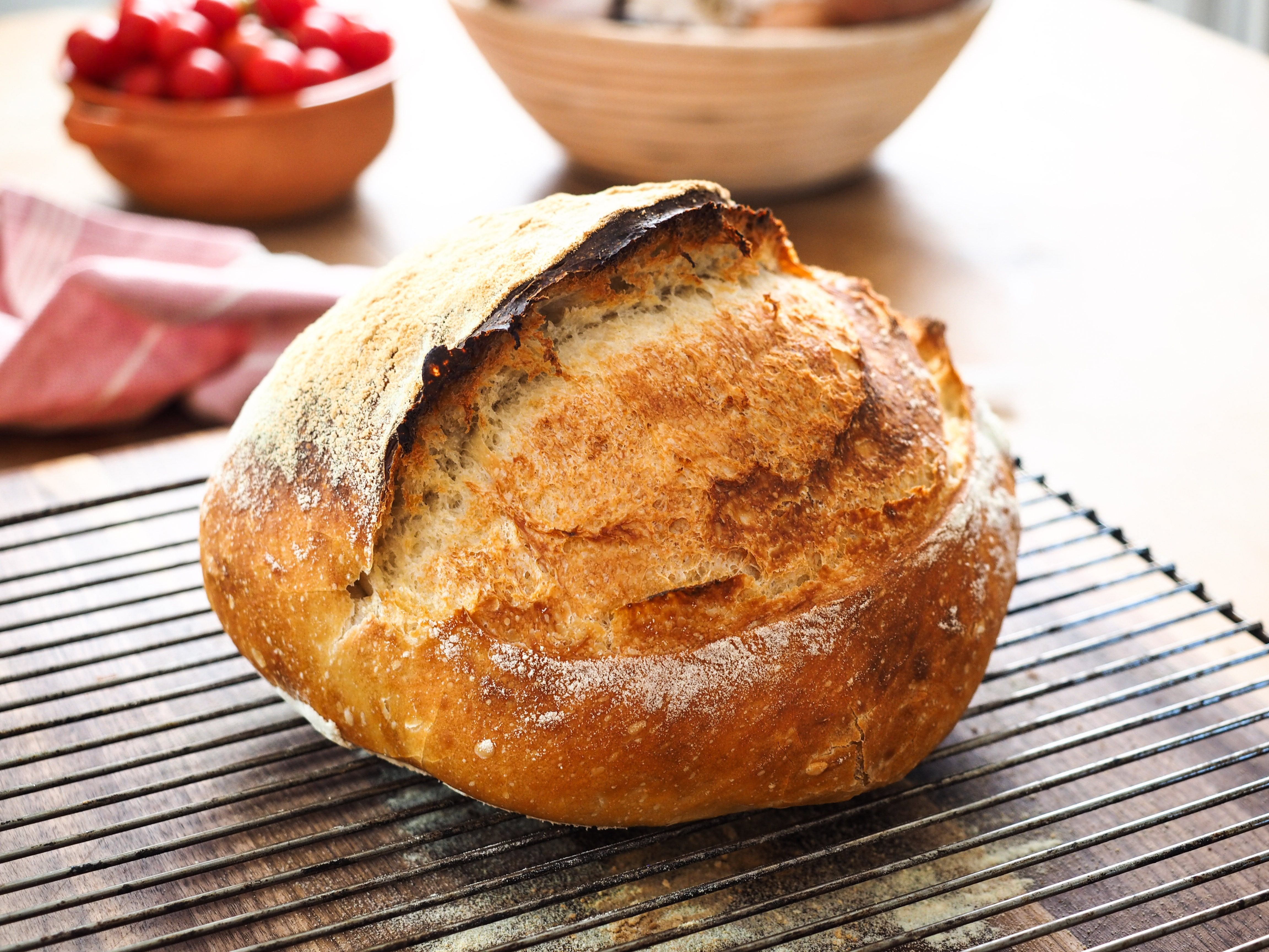 Overnight Bread Baked In A Cast Iron Pot Homemade Bread Recipes Sbs Food