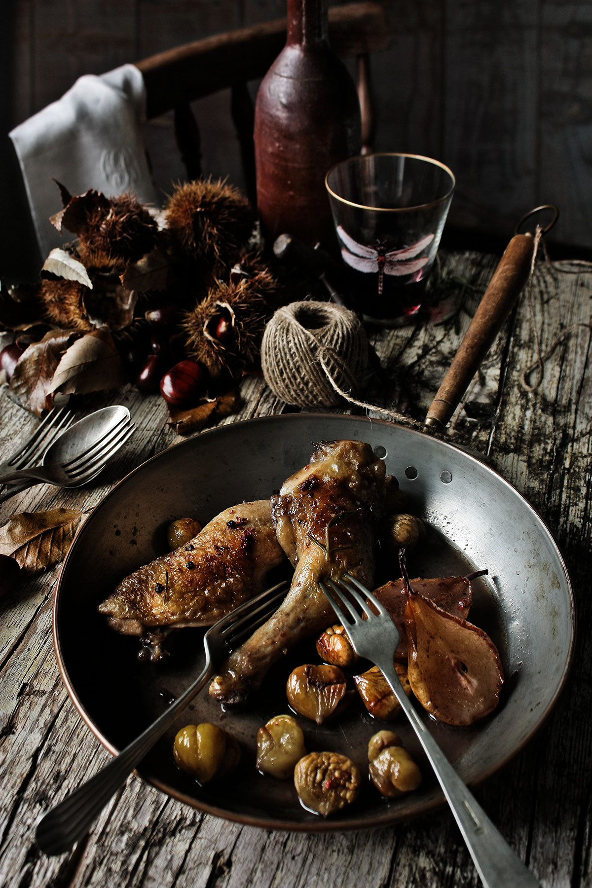 Chicken thighs with pears chestnuts and port recipe sbs food chicken thighs with pears chestnuts and port httpssbsfood recipeschicken thighs pears chestnuts and port forumfinder Image collections
