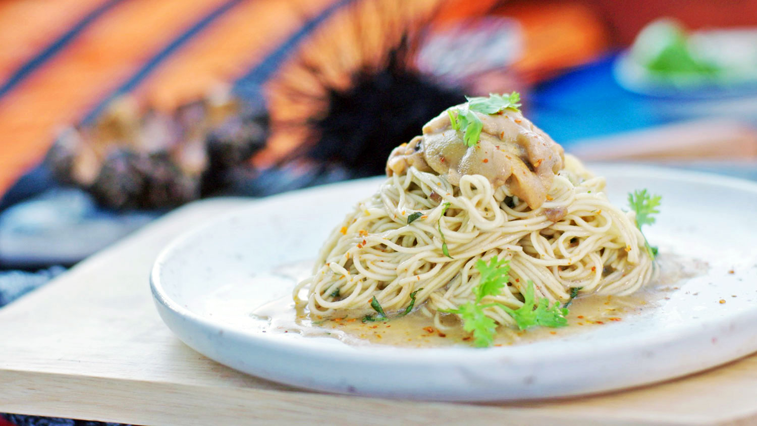 Egg noodles with sea urchin butter and caviar