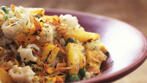 Fried rice with cuttlefish, pineapple and dill recipe ...