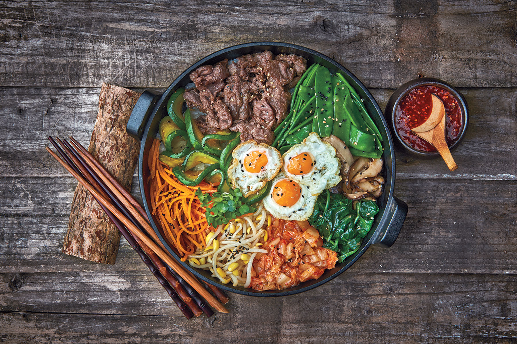Mixed Rice Bowl With Beef Bibimbap Recipe Sbs Food