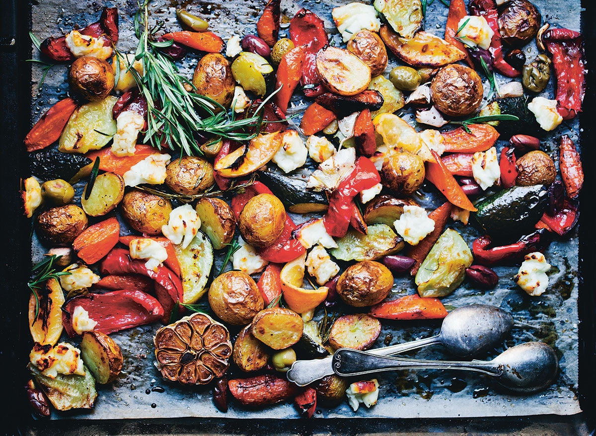 Mediterranean tray bake with haloumi chunks vegetarian recipe mediterranean tray bake with haloumi chunks this sort of one pan meal allows us to spend more time with each other and still have a delicious and wholesome forumfinder Image collections