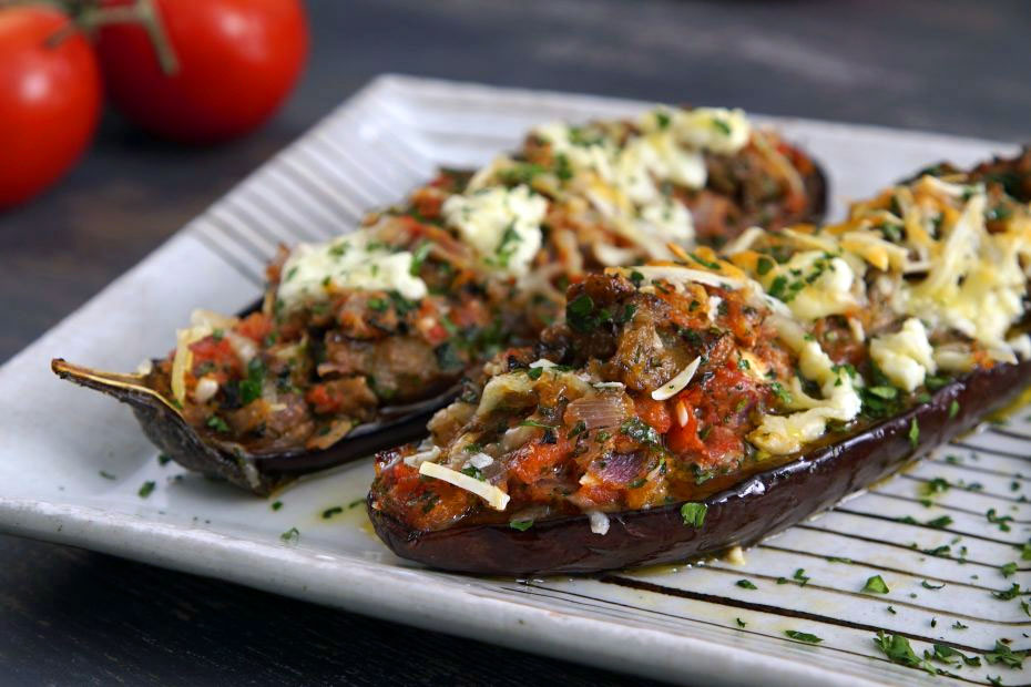Baked eggplant halves | Greek recipes | SBS Food