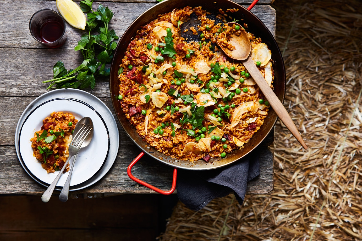 Paella With Chorizo Peas And Fennel Rice Recipes Sbs Food