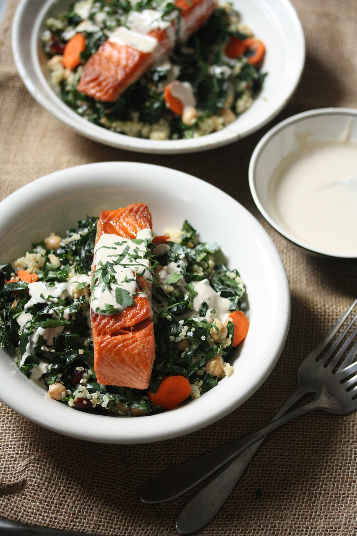 Salmon kale and quinoa bowls healthy recipes sbs food salmon kale and quinoa bowls with tahini sauce httpssbsfood recipessalmon kale and quinoa bowls tahini sauce forumfinder Images
