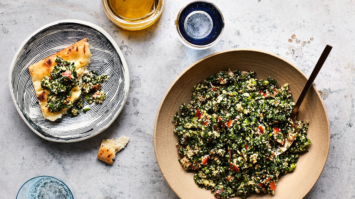 Tabbouleh lebanese recipes sbs food the parsley in your hand ready for cutting is crucial as is using a very sharp knife both help you t httpssbsfoodrecipes tabbouleh forumfinder Gallery