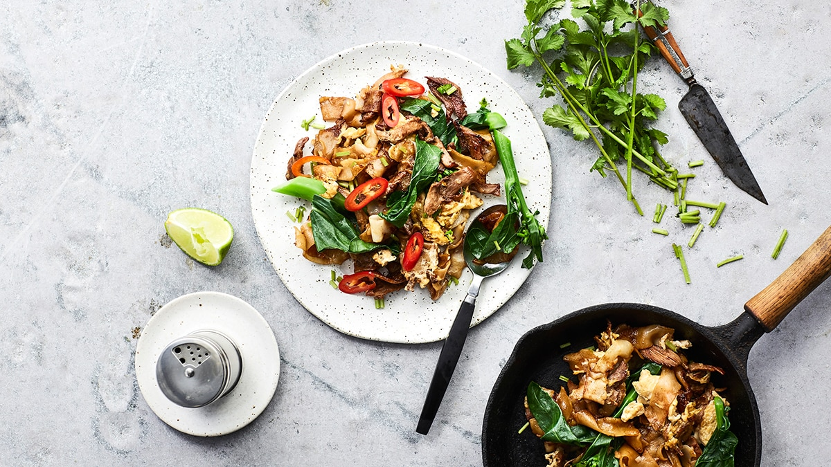 Pad see ew stir fried rice noodles with roast duck and white pad see ew stir fried rice noodles with roast duck and white pepper ccuart Choice Image