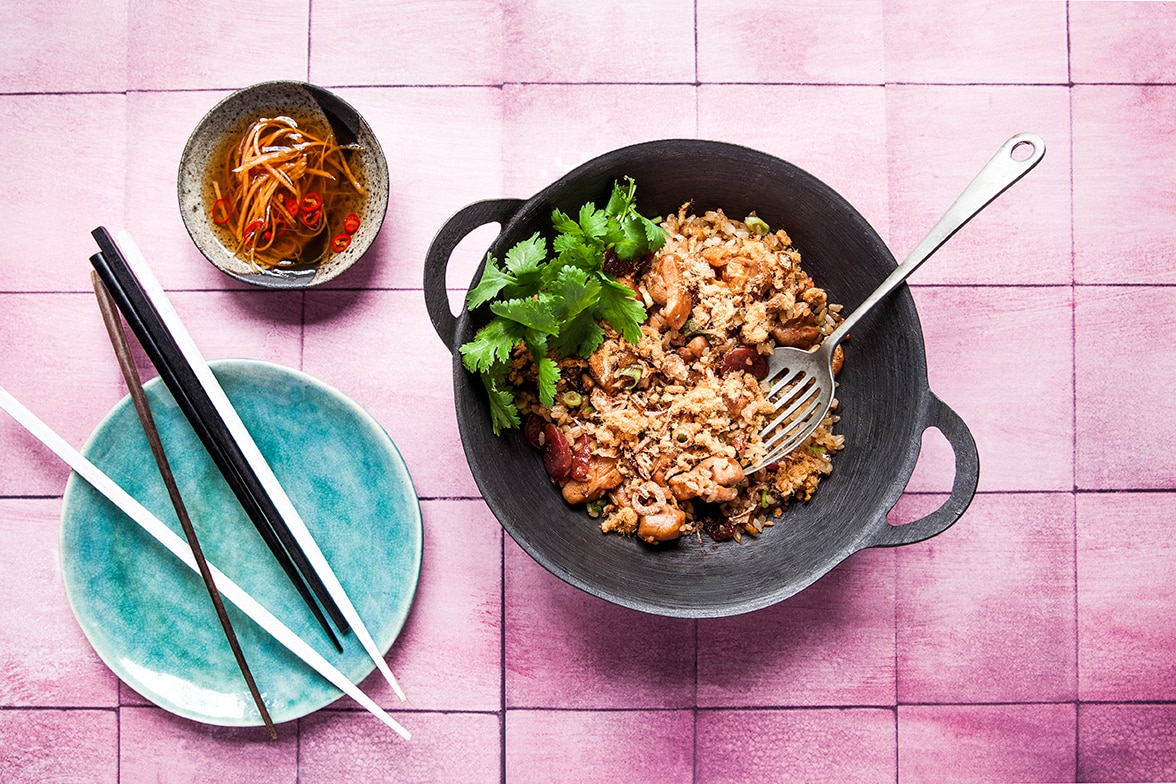 Vietnamese sticky rice with chicken and sausage recipe sbs food sticky rice with chicken and sausage xoi man httpssbsfood recipessticky rice chicken and sausage xoi man forumfinder Choice Image
