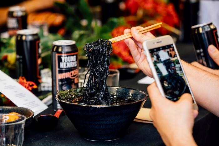 Sydney's Rising Sun Workshop created a dramatic black-garlic ramen to coincide with the recent launch of Young Henrys' new Motor