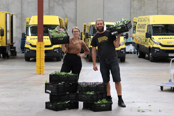 OzHarvest collects the produce grown at the urban farm in Port Melbourne.