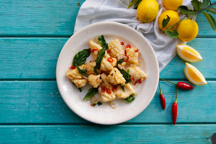 Fried squid with basil