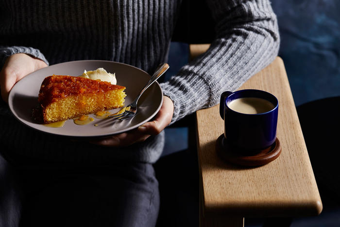 Lemon polenta cake with limoncello and citrus syrup
