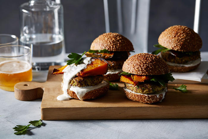Vegetarian chickpea and quinoa burgers with roasted pumpkin