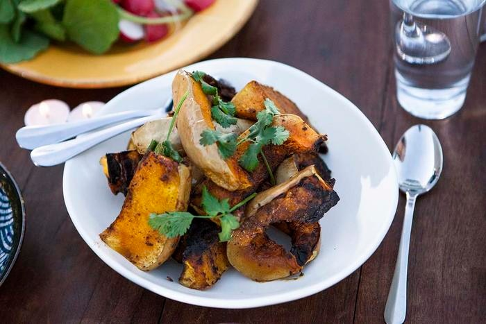 Spice roasted butternut squash with capered yoghurt