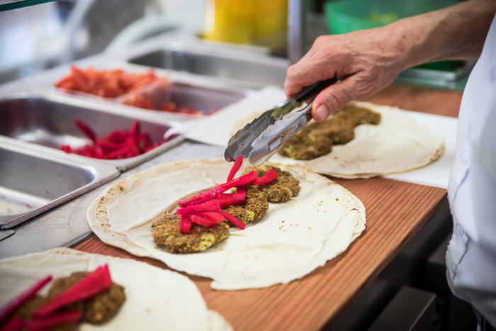 Falafel being prepped during a Flavours of Auburn tour.