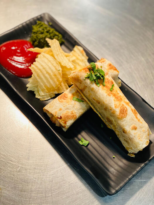 The veg aloo cheese frankie from Chatkazz.