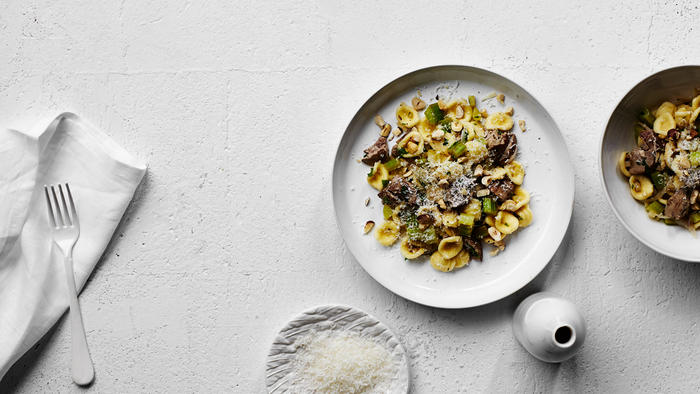 Orecchiette with duck livers, celery, apple and hazelnuts