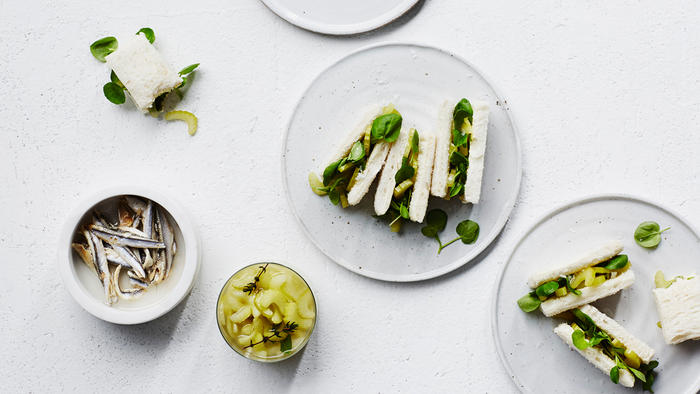 Pickled celery, cress and anchovy butter sandwiches
