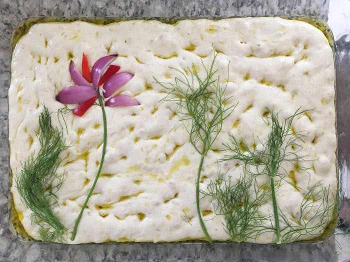 Focaccia with some vegetables