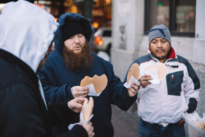 Action Bronson eats arequipe wafers in Queens