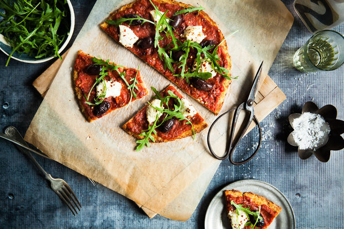 It's not always about flour: the gluten-free base to this pizza is made with cauliflower.