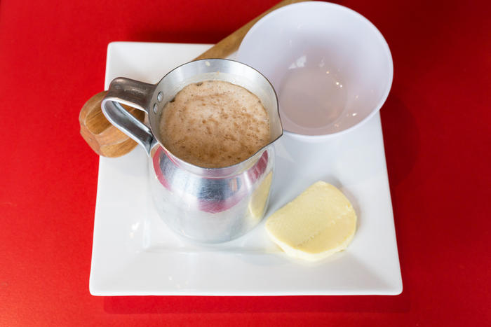 La Tienda's Colombian hot chocolate with mozzarella cheese is a must-try beverage.