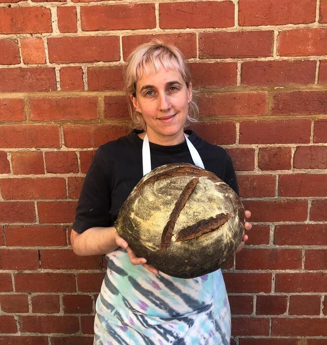 Maaryasha Werdiger makes sourdough bread which she sells at her bakery in Melbourne.