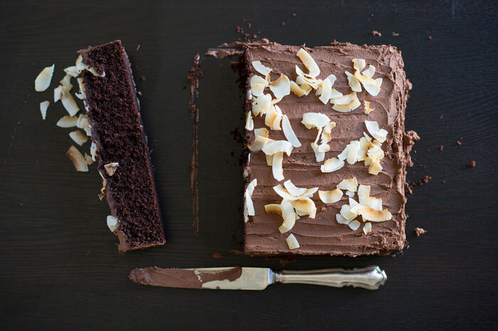 Melt and mix chocolate coconut cake