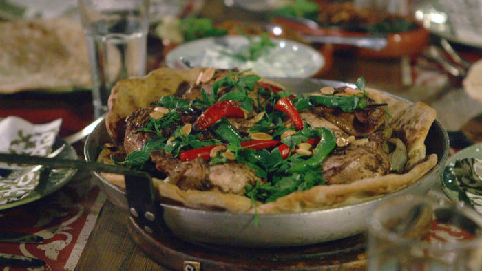 Typical versions of this Palestinian dish are made with sumac-flavoured chicken