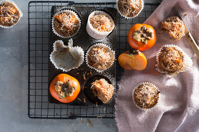 Persimmon and coconut muffins