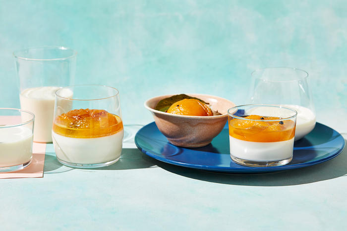 Poached apricots with set almond milk