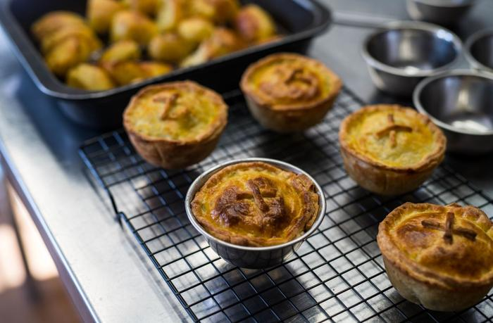 Fresh hot pies served by Sally Wise.