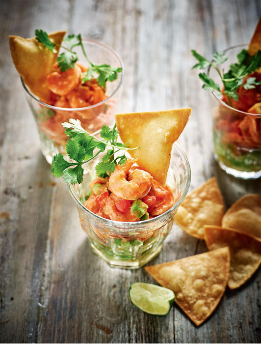 Mexican prawn cocktail with tomato, avocado and chipotle