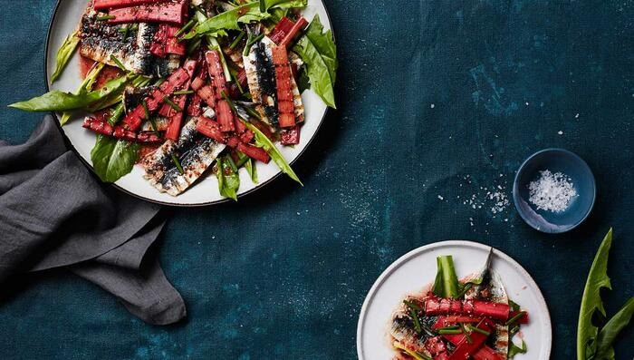 Chargrilled sardines with slightly pickled mustardy rhubarb