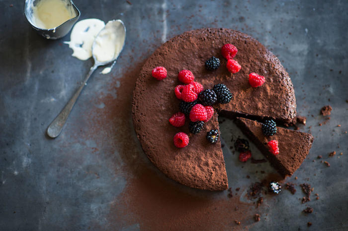 Rich flourless hazelnut chocolate cake
