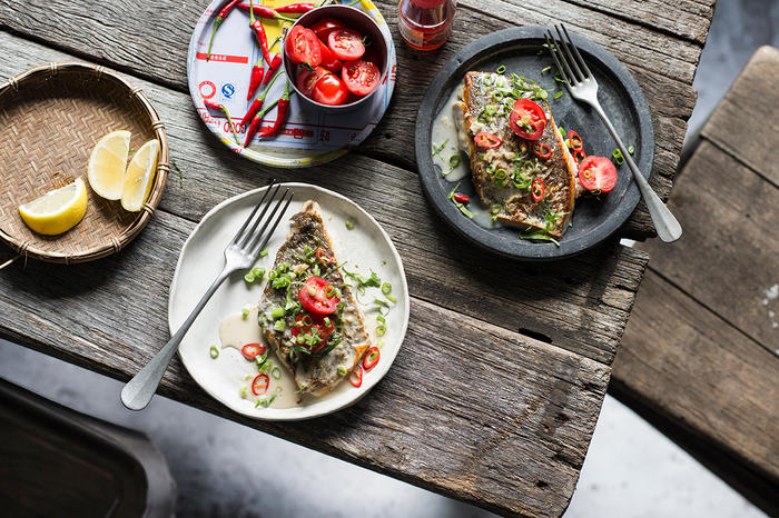 Pan-fried mulloway fillets with lemongrass and chilli