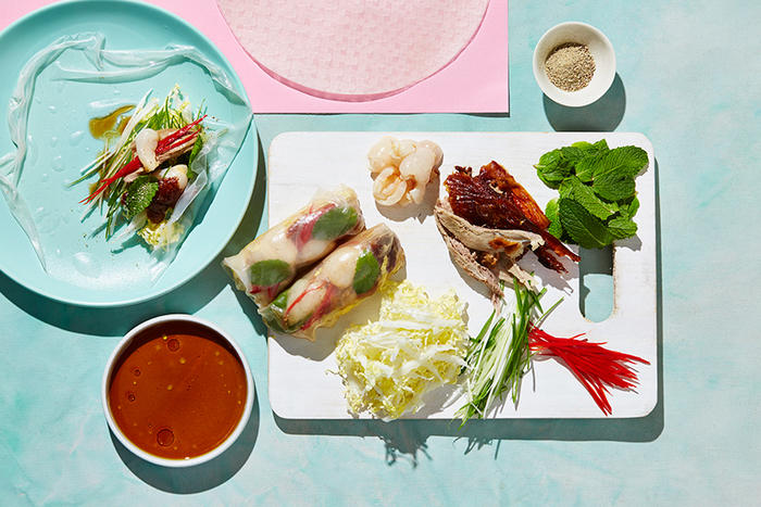 Roast duck and rice paper rolls