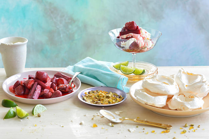 Rosewater pavlovas with vanilla-roasted red fruits and toffee pistachios